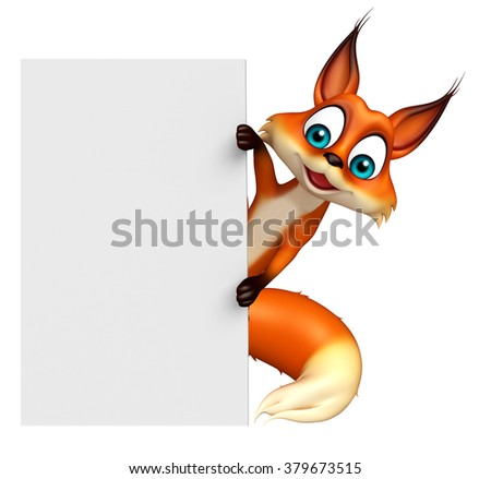 3d rendered illustration of Fox cartoon character with white board - stock photo