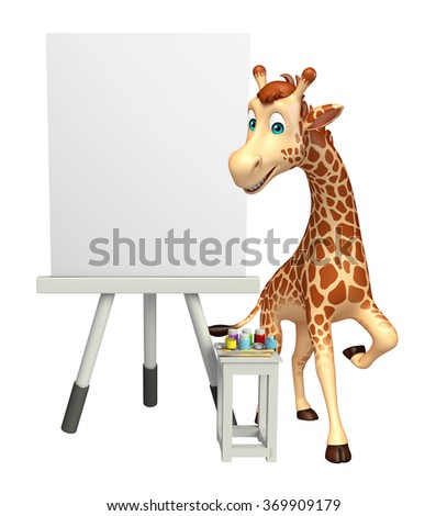 3d rendered illustration of Giraffe cartoon character with easel board  - stock photo
