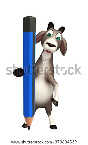3d rendered illustration of Goat cartoon character with pencil