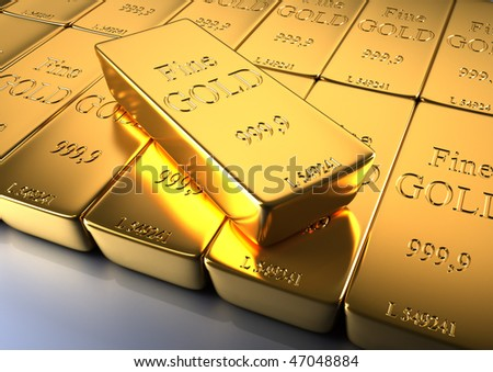 3d rendered illustration of gold bars, close up - stock photo