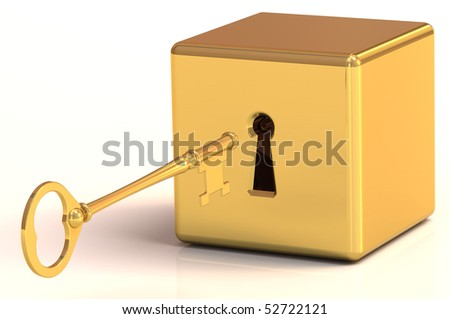 3D rendered illustration of golden key about to unlock a locked block - stock photo