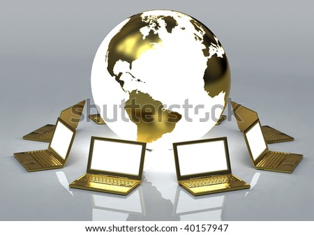 3D rendered illustration of golden laptop computers forming a network around a luminous planet earth