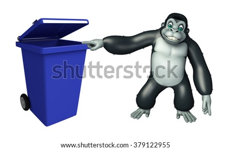 3d rendered illustration of Gorilla cartoon character with dustbin - stock photo