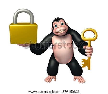3d rendered illustration of Gorilla cartoon character with lock and key - stock photo