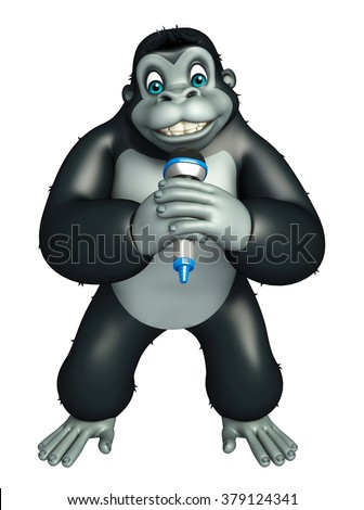 3d rendered illustration of Gorilla cartoon character with mike