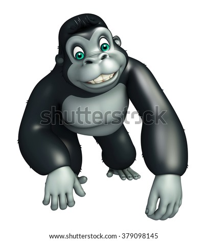 3d rendered illustration of Gorrilla funny cartoon character