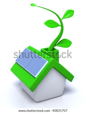 3D rendered illustration of green, ecological house, equipped with solar panels, growing a leaf vine, metaphor for green sources of energy in households - stock photo