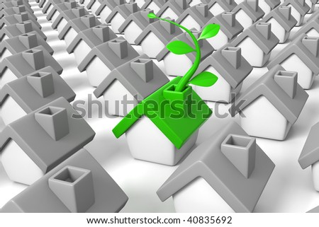 3D rendered illustration of green, ecological house,growing a leaf vine, in a group oh grey houses, metaphor for environmental friendly household - stock photo