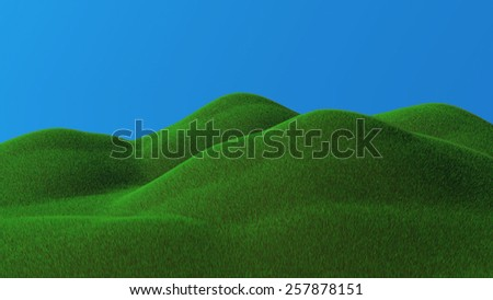 3D rendered illustration of green hills - stock photo