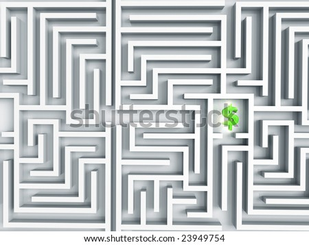 3D rendered illustration of green, shinny dollar symbol either lost in a maze, or as treasure to be found