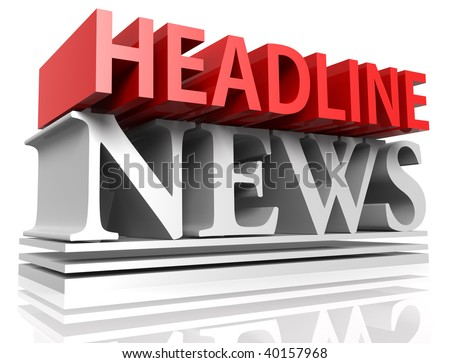 3D rendered illustration of HEADLINE NEWS letters  in deep perspective, forming a typographic design