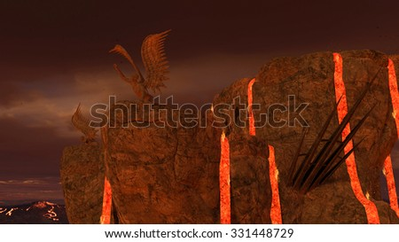 3D rendered illustration of hell scene with lava and statues of fallen angels - stock photo
