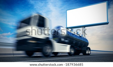 3d rendered illustration of high speed truck on background with white empty billboard - stock photo