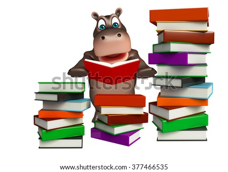 3d rendered illustration of Hippo cartoon character with book