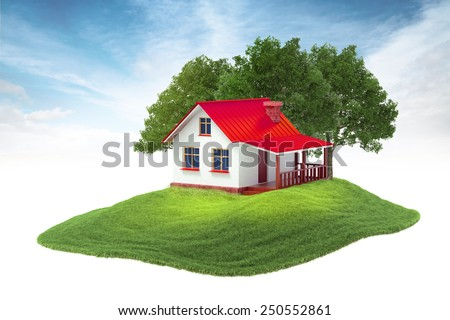3d rendered illustration of house and trees floating in the air on sky background - stock photo