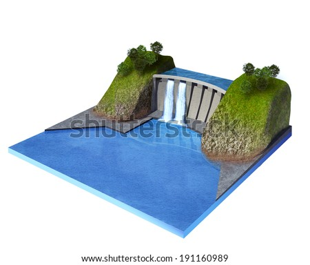 3d rendered illustration of hydroelectric power station isolated on white - stock photo