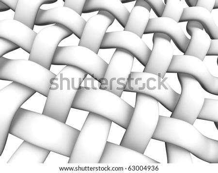 3D rendered illustration of interlaced fiber on white background - stock photo
