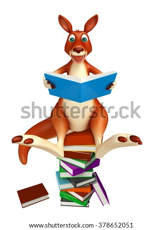 3d rendered illustration of Kangaroo cartoon character  with book