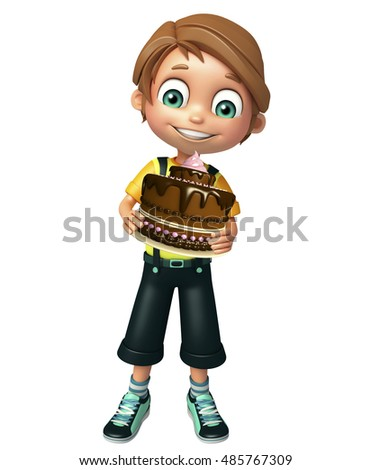 3d rendered illustration of kid boy with cake