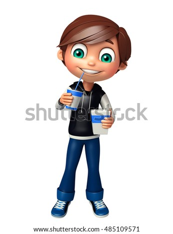 3d rendered illustration of kid boy with Coke