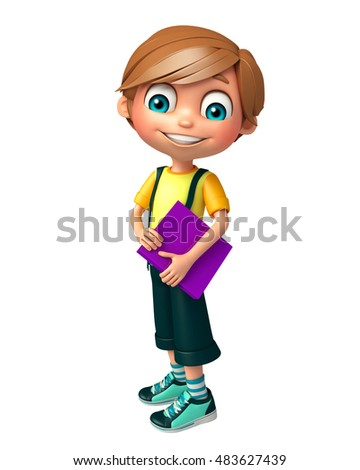 3d rendered illustration of Kid boy with Files