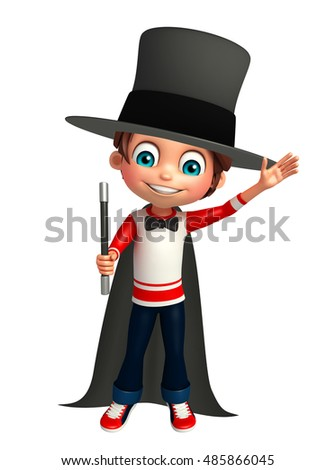 3d rendered illustration of Kid boy with magical hat