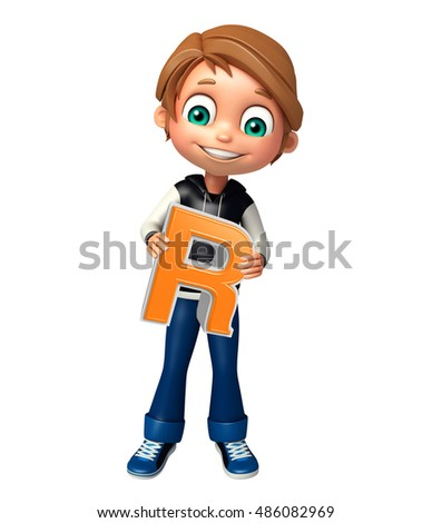 3d rendered illustration of kid boy with  R alphabet