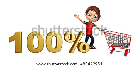 3d rendered illustration of kid boy with 100% sign & trolley