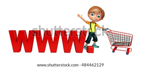 3d rendered illustration of kid boy with www & trolly