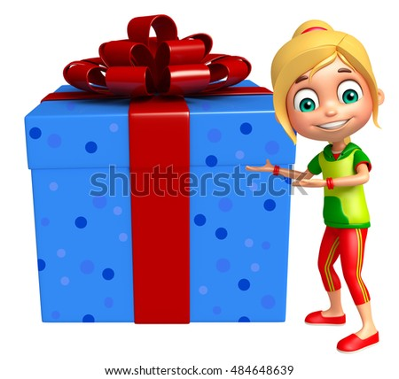 3d rendered illustration of kid girl with Gift box