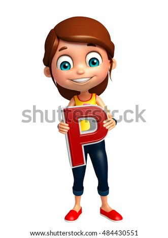 3d rendered illustration of kid girl with P alphabet