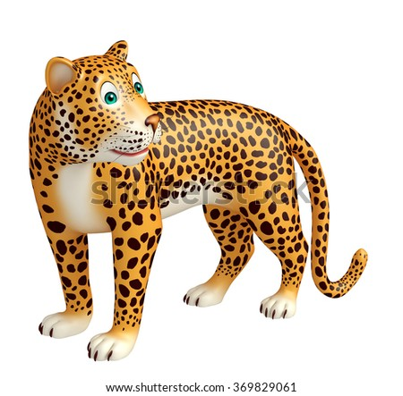 3d rendered illustration of look back Leopard cartoon character