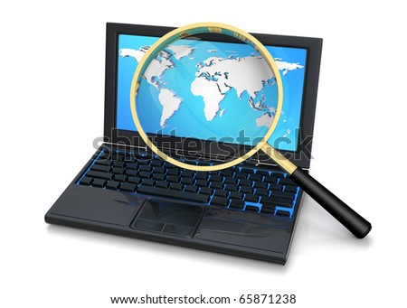3D rendered illustration of magnifier, aiming and focusing on a world atlas as it is being displayed on a laptop monitor