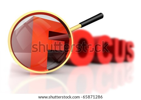 3D rendered illustration of magnifier aiming at the word Focus, focusing on one of its letters while the others are out of focus
