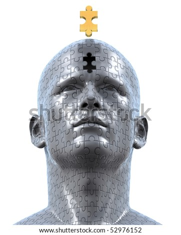 3D rendered illustration of man's bust sculpture made out of jigsaw puzzle pieces, and the golden final piece of the puzzle floating over the final empty space at the bust's forehead. - stock photo
