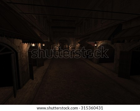 3D rendered illustration of marketplace street at night - stock photo