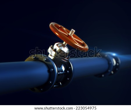 3d rendered illustration of metal pipeline with valve and red handwheel wirh DOF focus blur effect on dark background - stock photo