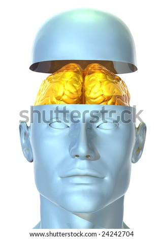 3D rendered illustration of metallic human head with brain made out of gold shown inside - stock photo
