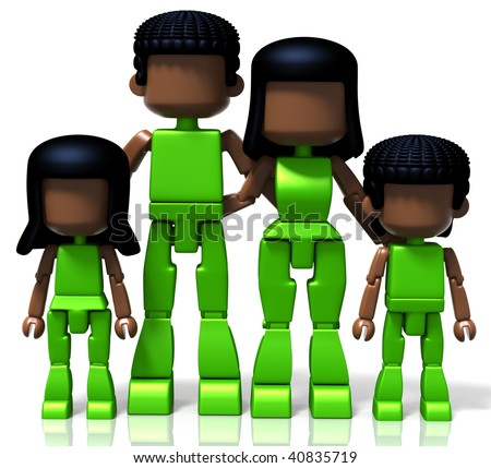 3D rendered illustration of MiniToy family, including father, mother, son and daughter - stock photo