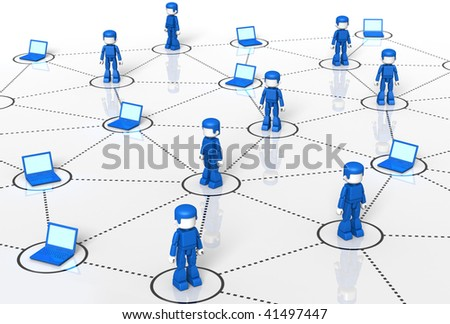 3D rendered Illustration of Minitoy human and laptop network - stock photo