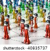 3D rendered Illustration of MiniToy human network - stock photo
