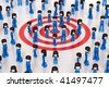 3D rendered illustration of MiniToy people, with a central group of Minitoys standing over a red target symbol - stock photo