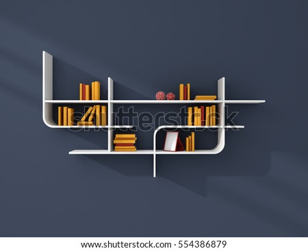 3d rendered illustration of modern bookshelves.