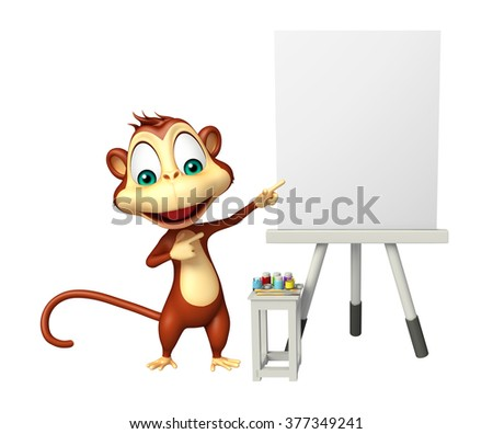 3d rendered illustration of Monkey cartoon character with easel board   - stock photo