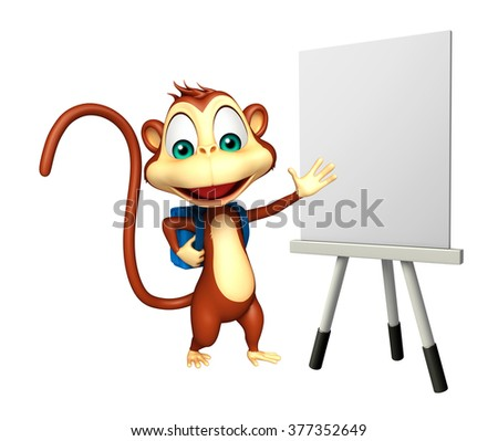 3d rendered illustration of Monkey cartoon character with school bag and easel board   - stock photo