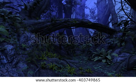 3D rendered illustration of night deep forest - stock photo