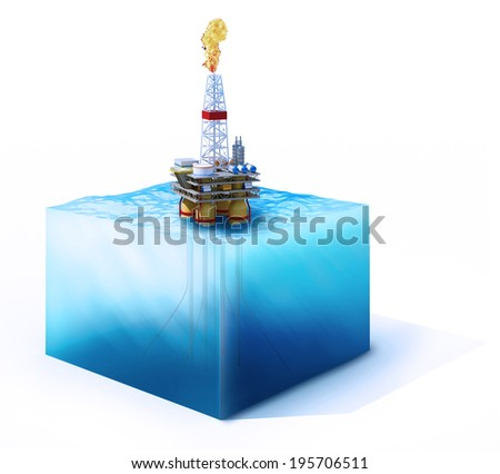 3d rendered illustration of on cross section of ocean with oil platform isolated on white - stock photo