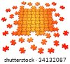 3D rendered illustration of orange puzzle pieces coming together, isolated in white background - stock photo