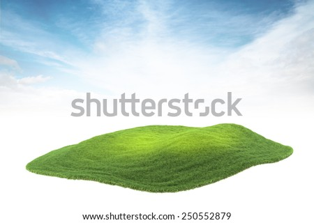 3d rendered illustration of piece of land or island floating in the air on sky background - stock photo