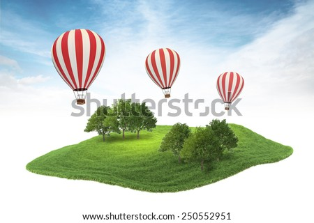 3d rendered illustration of piece of land with forest and hot air balloons floating in the air on sky background - stock photo
